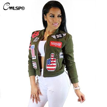 CWLSP Autumn 3D Patch Designs Bomber Jackets Coats Women Long Sleeve Stand collar Military outwears Zippers Pockets Coat