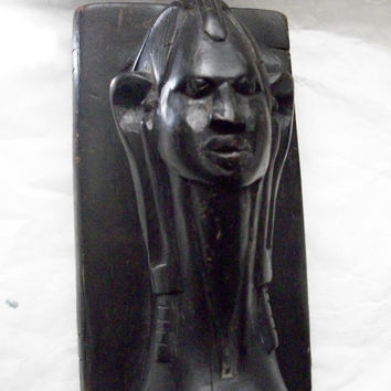 Vintage Wooden Carved Bookend African Head  1 BOOKEND ONLY Rustic Primitive Some Wear