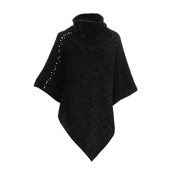 Black Marbled Collared Poncho with Pearl Accents
