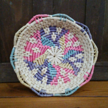 Vintage Woven Colorful Bohemian Wall Hanging Flat Basket