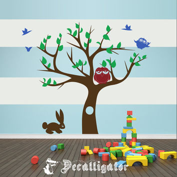 Wall Decal - Cute Cartoon Nature Scene for Kids' or Babies' Rooms