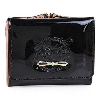 Damara Womens Small Pouch Purse Patent Leather Bow Wallet