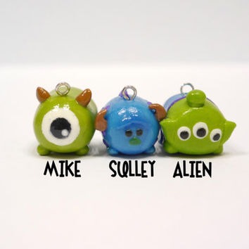 Pixar (Monsters Inc & Toy Story) family Tsum Tsum (includes Mike, Sulley, Alien!) charm with free keychain!