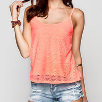 Full Tilt Lace Front Womens Tank Neon Coral  In Sizes