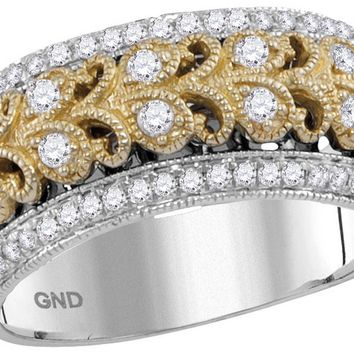 14kt Two-tone White Gold Womens Round Diamond Filigree Fashion Band Ring 3/8 Ctw