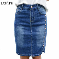 New Arrival Pencil Denim Skirt Women Plus Size Elegant Women's Mini Skirts 2017 Button Slim High Waist jean Skirts For ladies