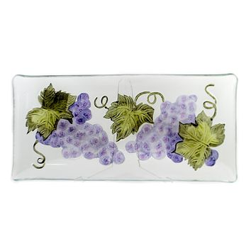 Tabletop GRAPES FUSED GLASS PLATTER Fusion Glass 15 Inch Oblong Plate 68623