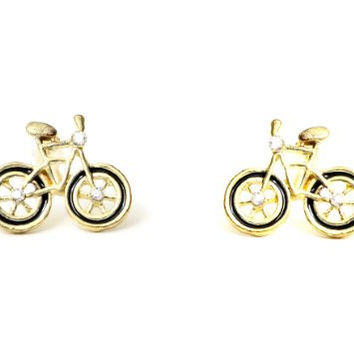 Bicycle Earrings Cyclist Bike Black EA33 Fixie Velo Antique Crystal Mod Post Studs