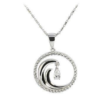 14K White Gold Wave in Circle Pendant CZ Inlay(Chain Sold Separately)
