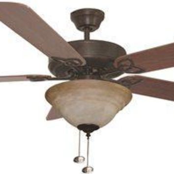 Bala Quick Connect Dual Mount Ceiling Fan With Bowl Light Kit, 52 In., Reversible Dark Oak & Mahogany Blades, Aged Bronze