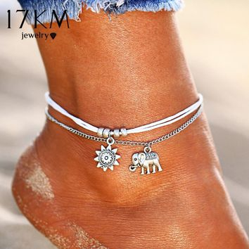 17KM Vintage Star Elephant Anklets Bracelet For Women Boho Pendent Double Layer Anklet Bohemian Foot Jewelry Gift Drop shipping