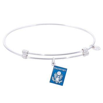 Sterling Silver Alluring Bangle Bracelet With Passport Charm