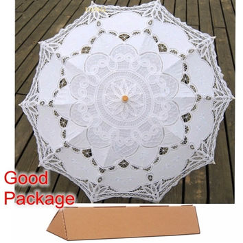 New Lace Umbrella Cotton Embroidery White/Ivory Battenburg Lace Parasol Umbrella Wedding Umbrella Decorations