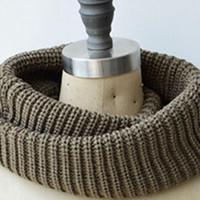 Gray Knit Funnel Scarf = Thanksgiving Christmas Gift