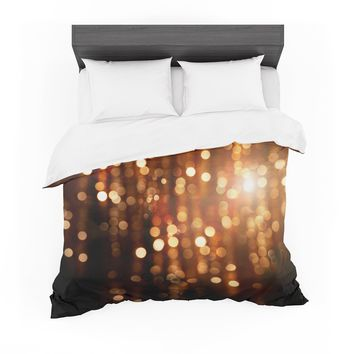 "Susan Sanders ""Copper Gold Glitter Lights"" Gold Brown Bokeh Holiday Photography Featherweight Duvet Cover"