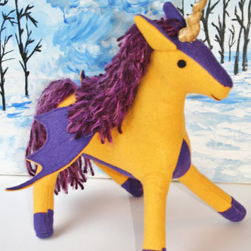 Stuffed Pegacorn Toy, Golden Yellow & Purple, Gold Sparkle Horn, All Handmade from Eco Fi Felt, Unicorn Pegasus