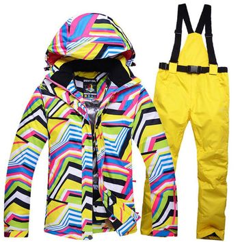 Woman Snow Clothing Zebra crossing Ladies ski suit sets snowboard costume windproof Warm skiing outdoor sets jacket + bib pant
