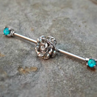Fire Opal Blue Industrial Barbell Rose Center 14ga Body Jewelry Ear Jewelry Double Piercing Rhinestone