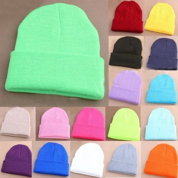 Winter Unisex Fashion Candy Color Hip-hop Ski Skull Cap Knit Hat Crochet Beanies = 1958092804