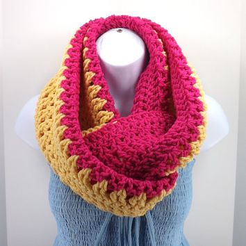 Crochet Infinity Scarf, Two Colored Infinity Scarf, Fall Winter Chevron Infinity Scarf
