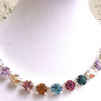 Swarovski Crystal Necklace - Sabika Inspired -multi colored, rainbow -ON SALE