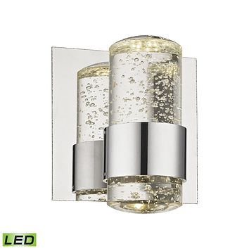 Surrey 1-Light Vanity Lamp in Chrome with Clear Bubble Glass - Integrated LED