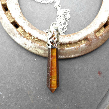 Tigerseye Gem Stone Pendant, silver bail and silver plated chain necklace.
