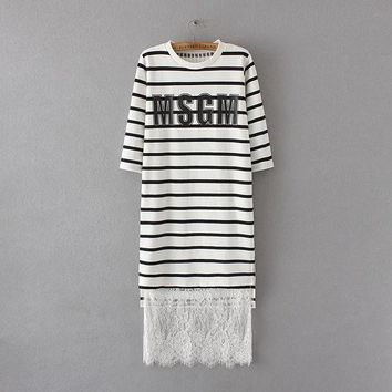 DCCK0OQ Korean Alphabet Print Stripes Prom Dress Autumn Three-quarter Sleeve Slim Lace Dress One Piece Dress [8542263751]
