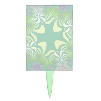 Green Pastel Star Rectangle Cake Topper