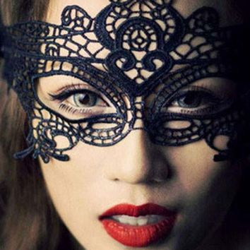 DCCKUNT Black Halloween Masquerade Party Lace Mask