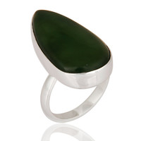 Fine Handmade Natural Vasonite Green Gemstone 925 Sterling Silver Bezel-Set Ring