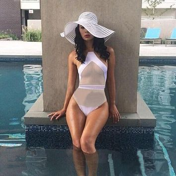 Sexy Romper Siamese Bodysuit Tight Jumpsuit  Playsuits Women Sexy Mesh Solid Suit U-Shaped Back Swimsuit