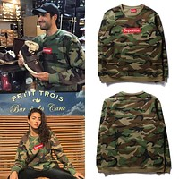 Supreme Embroidered Logo Camouflage Velvet Sweater S-XXL