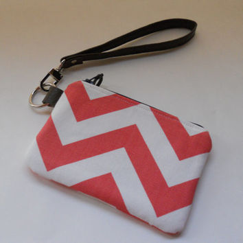 Small Zipper Wristlet, Gift Card Wallet, Coin Purse, Bridesmaid Gift, Coral and White Chevron, Brown Faux Leather Strap, Ready to Ship
