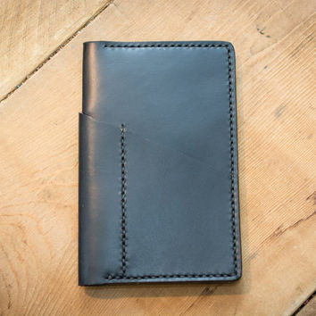 Black Leather Field Notes Cover (Wraparound Pocket)
