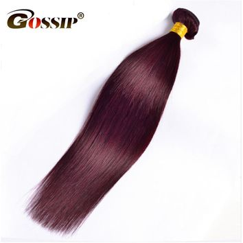 Gossip Peruvian Hair Straight Burgundy 99J Red Color Human Hair Weave Bundles Double Weft Hair Extension 1 Piece Only Non Remy