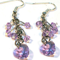 Amethyst Violet Swarovski Crystal Dangle Earrings by lindab142