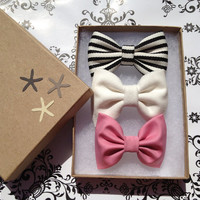 Black and white striped, cream and mauve hair bow lot from Seaside Sparrow. Brandy Melville inspired:)