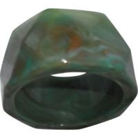 Plastic Bangle Bracelet in Marbled Greens and Browns Faceted