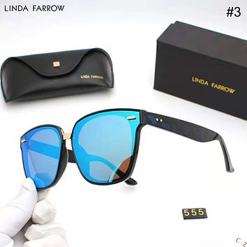 LINDA FARROW 2018 new fashion big frame retro luxury women's driving polarized sunglasses #3