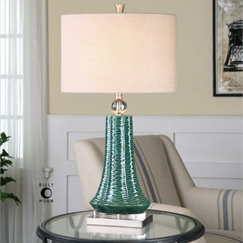 Uttermost Gosaldo Textured Teal Table Lamp