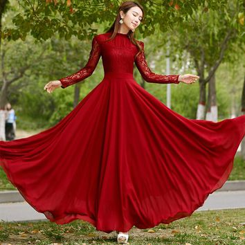 New Silm Lotus Leaf Edge Stand Long Sleeve Women Dress Chiffon Floor Length Party Dresses Fashion Women's Lace Wedding Clothing