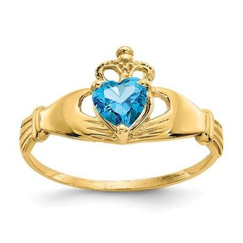 14k Yellow Gold Blue Heart Polished Claddagh Ring