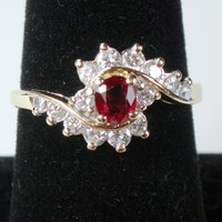 Vintage 14k Ruby Diamond Ring Genuine Ruby Ring Dinner Ring 14k Gold Ruby Diamond Ring July Birthstone