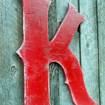 "24"" Extra Large Western Style Letter ""K"" Shabby Chic Rustic Wooden A B C D E F G H I  J K L M N O P Q R S T U V W X Y Z Wood"