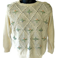 Pullover Sweater Embellished with Pearls Pastel Flowers Women's XL