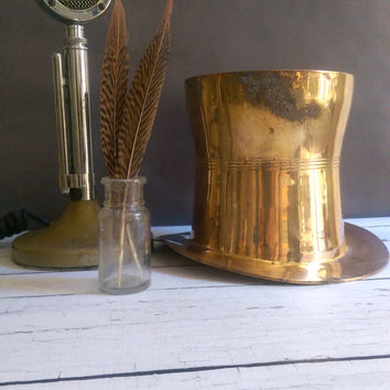 Brass Top Hat/  Brass Top Hat Ice Bucket/ Mad Hatter Brass Top Hat/ Gentlemen's Top Hat/ Champagne Bucket/ Ice Bucket