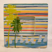 Frame Paradise  Palm Trees and Ocean Waves Rainbow by ScrappyDoodads