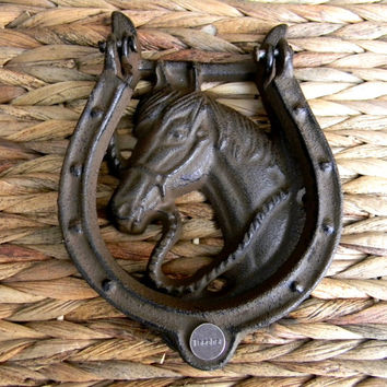 Teacher Horseshoe Cast Iron Door Knocker, School Teacher Gift, Appreciation,  Western Custom Horse Head Unique Front Door Rustic Home Decor