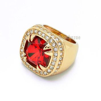 DCCKH7E MENS BIG CHUNKY 14K GOLD PLATED ICED OUT RICH GANG RUBY RAPPER RING DR012RG